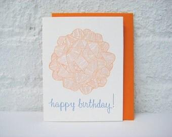 Letterpress Birthday Card - Happy Birthday - Birthday Gift Bow - orange - blue - gift