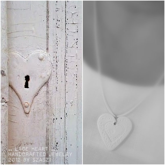 Folk white heart  Air-dry clay necklace, handmade pendant. Eco friendly