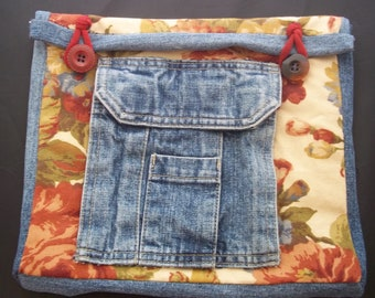 IPad Sleeve with Cell Phone Pocket - Denim and Upholstery Fabric