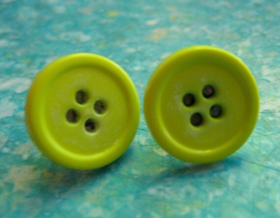 Button Earrings - Lime Green Button Stud Earrings