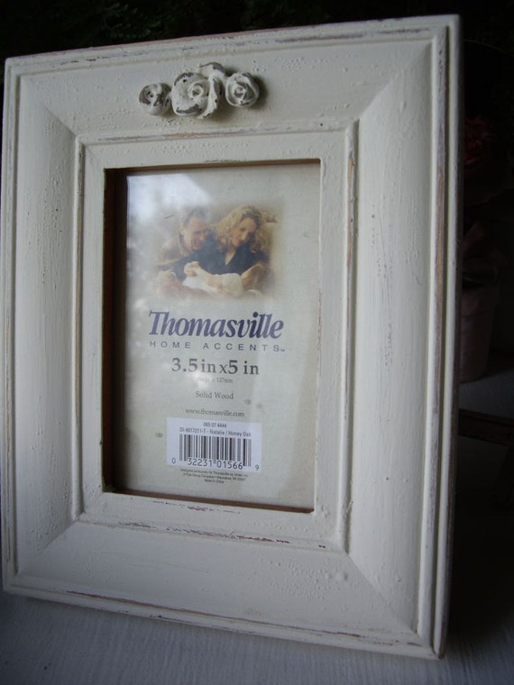 "Picture Frame Distressed 3.5 x 5""  Ecru with Roses"
