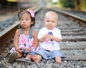 Matching Brother Sister Outfits. Pink & Gray Polka Dots