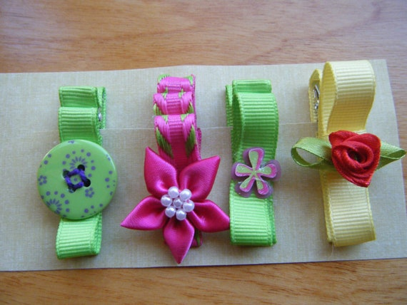 Girls Hair Clips, Button Hair Clip , Floral Hair Clips , Set of Hair Clips , Green and Pink Clips , Yellow Bow Clip, Set Baby Clips