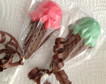 24  ICE CREAM PARTY Chocolate Lollipops Party Favors Birthday