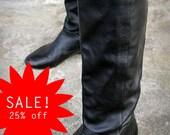 25% off, Black Soft Leather, Vintage Wedge Heel Boots, Tres Hipster. EU 38 - 39