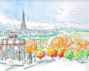 Paris painting -  Arc de Triomphe du Carrousel with the Eiffel Tower