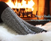 Hand knit Leg Warmers - Boot Cuffs - Boot Cover - 100% wool - Cable Knitted - Marled grey - Gray - Winter Accessory