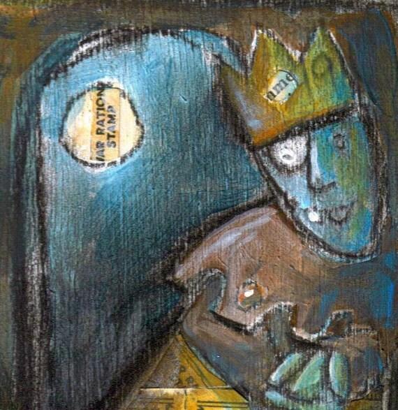 creepy king fantasy art original Mixed Media painting blue