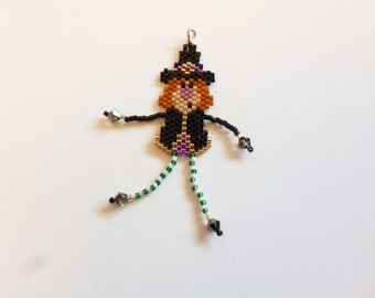 Halloween Little beaded witch pendant
