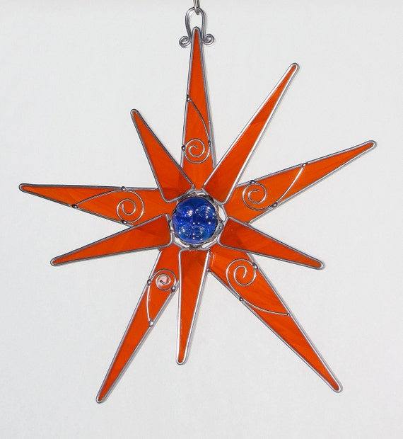 Stained Glass Suncatcher- Orange Star with Blue Face Jewel - Wire Curl Accent, Original - Signed