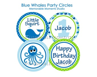 PRINTABLE PARTY CIRCLES Blue Whales Party Collection - Little Squirt - Memorable Moments Studio