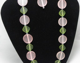 Frosted Pink and Green Springtime Necklace Set