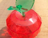 Crystal Clear Red Prism Cut Plastic Red Apple Container Box with Stem and Leaf