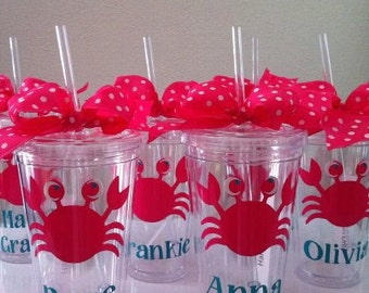 Personalized Tumblers- Party Favors-Underwater Party-Sealife-Crab - Pink Crab