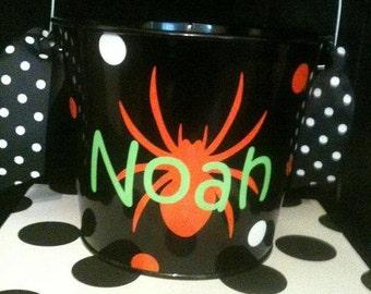Personalized Halloween Bucket- Halloween Pail - Bucket with Spider - Spider Bucket - Candy Holder
