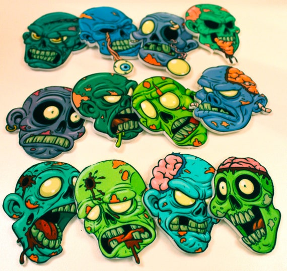 Edible Zombies Halloween Cupcake Toppers