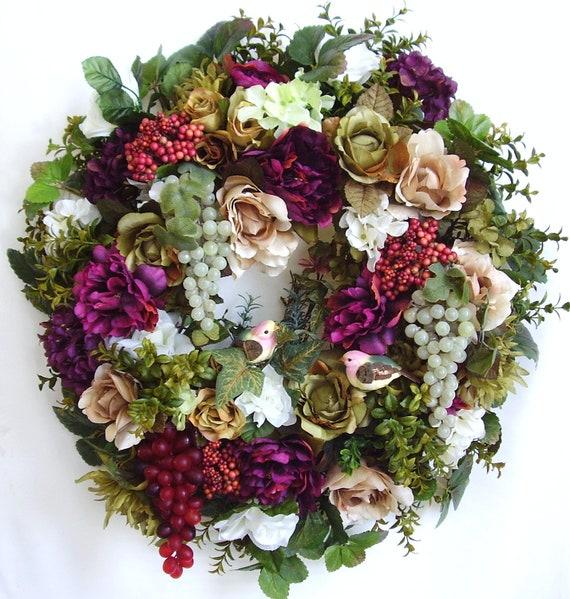 Fall, Autumn, Tuscan, Halloween, Thanksgiving, Grape, Birds, Flower Door Wreath
