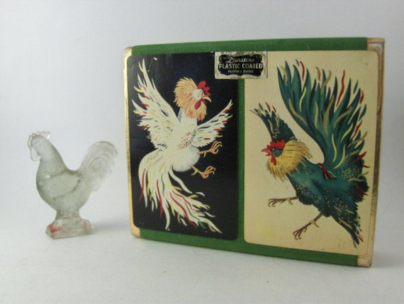 Vintage Playing Cards - Fighting Roosters - Aarco