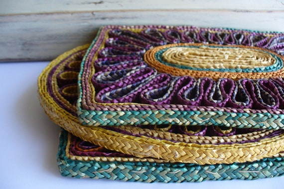 Trio of Colorful Woven Trivets