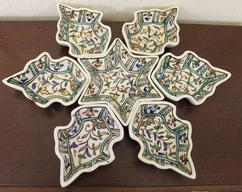 Vintage Seven Piece Appetizer Serveware with Mideast Fruit & Leaves Design (E1387)
