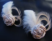 Set of 2 Bridesmaids' Fascinators, wedding party headpieces - Champagne Satin rosettes with Ivory goose feathers and rhinestones