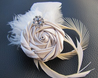 Bridal Fascinator, wedding hair piece - Champagne Satin rosette with Ivory goose feathers and rhinestone - Rosana