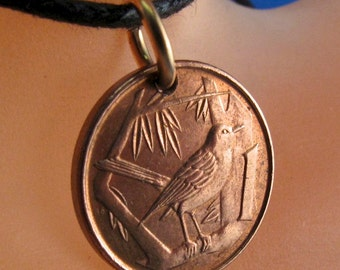 SONGBIRD  coin necklace. CAYMAN ISLAND  necklace . bird coin charm.  thrush jewelry. vintage No.001202