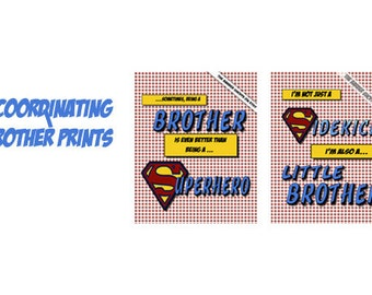 11x14 Set of Brother prints-Big and Little Bro comic Pop Art  for a boy super hero theme room