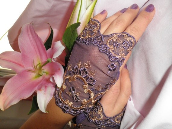 Purple Lace Fingerless Ready to Ship SAMPLE SALE