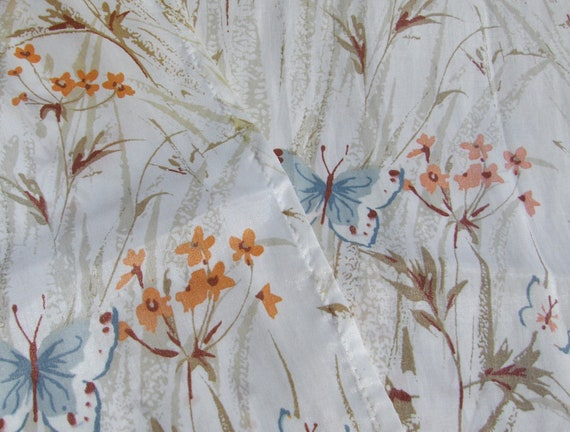 Butterflies and Flowers Curtain Panels Pair Rod Pocket Opaque Sheer in Brown, Taupe, Orange and Blue Cottage Chic Kitchen or Bathroom