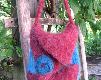 Unique FreeForm Knit and Felted Bag in Rusty Red and Teal