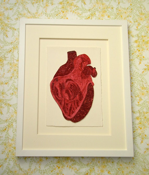 Quilled human heart, Fine art anatomical diagram, framed quilled fine art, doctor decor