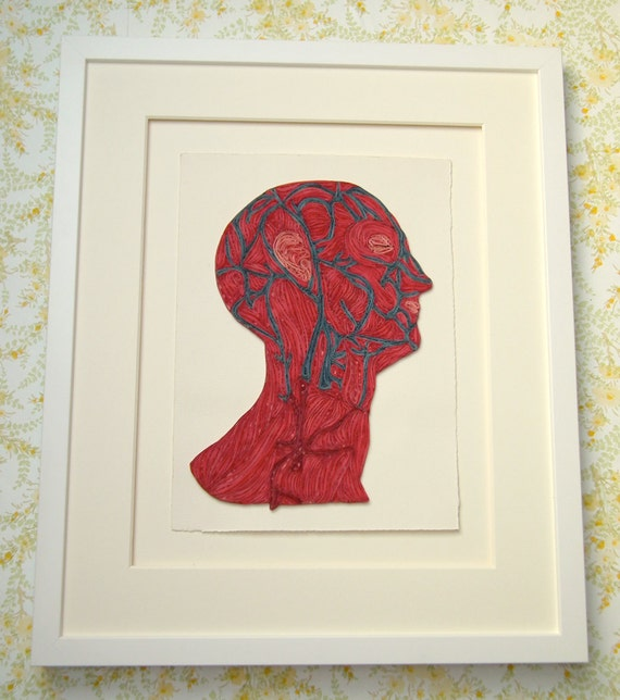 Quilled veins of the head, Fine art anatomical diagram, framed quilled fine art, doctor decor
