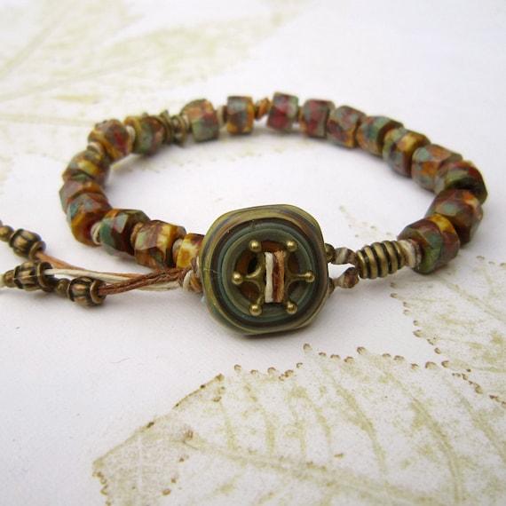 Beaded bracelet, Lampwork bead bracelet, brass bead bracelet