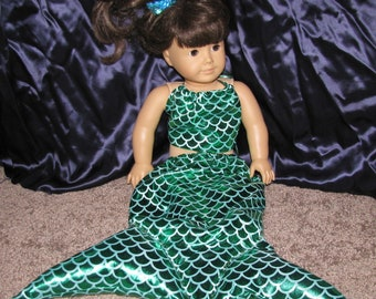 American Girl Doll Stye Ariel outfit with mermaid tail