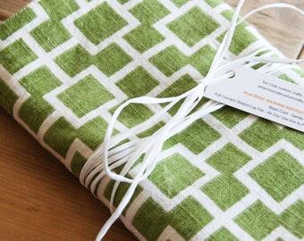 Elegant Green Table Runner: Green With White Squares Linen