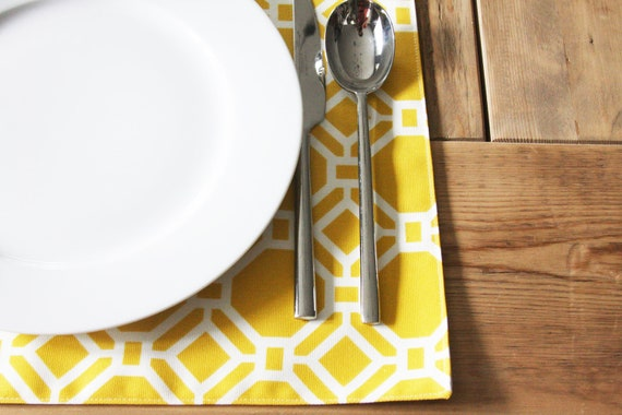 RESERVED for KIM - Fabric Placemats - Yellow Geometric - Set of 4