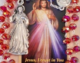 Handmade Catholic Rosary, Chaplet of Divine Mercy Rosary, St. Faustina Kowalska