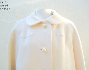 Vintage 50s Rich Cream Hopsack Trapeze Coat By Michaelson for Goldwaters of AZ Price:
