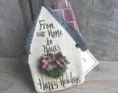 Neighbor Gift  Christmas Ornament Salt Dough Birdhouse Ornament