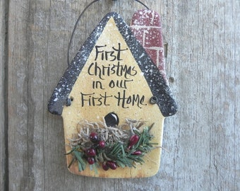 First Christmas in our First Home Salt Dough Ornament / New Home