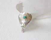 Hot Air Balloon, Sterling Silver Tie Tack, Pin, Vintage, Brooch With Turquoise, Acoma - EVE