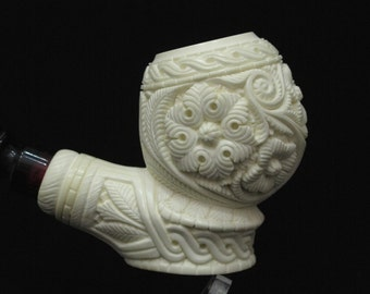 Floral Meerschaum Pipe Flower pipes Emin Free Hand Gift Case Big Bowl 6168