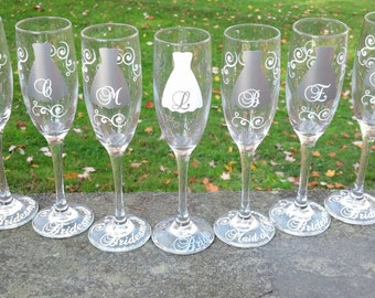 10 Bridesmaids champagne flutes, Personalized glasses, Silver bridesmaid dresses white accents.  Matron of honor gift. Bridal shower idea