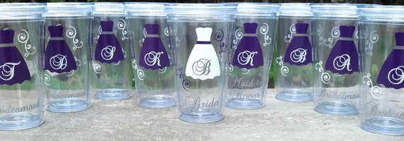 5 Bridesmaid gift Tumblers, 16 ounce insulated tumblers with lid and straw, acrylic Bridesmaid or Maid of honor for wedding day. BPA Free