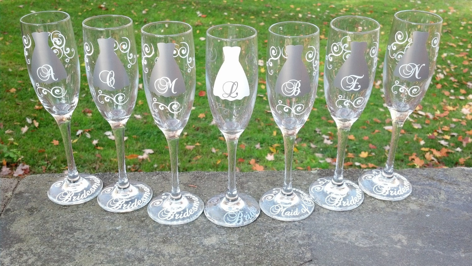 10 Bridesmaids Champagne Flutes Personalized Glasses Silver