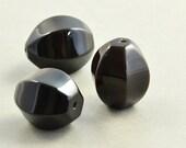 Black Onyx 16mm Barrel Bead, Black Focal Bead, Three