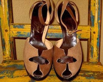 vintage 40s REPTILE Lizard and Suede brown tan PLATFORM Peep Toes 8 or 8.5