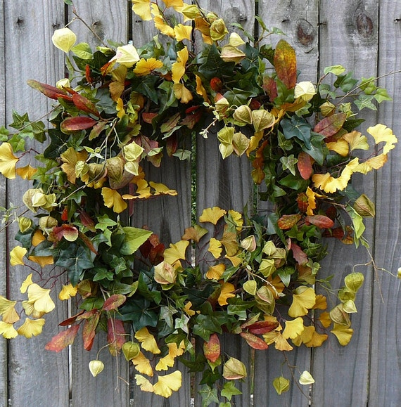 Fall Wreath - Fall / Everyday Ginkgo Leaf and Chinese Lantern Wreath -  Green and Yellow Natural Wreath with Ginkgo and Chinese Lantern