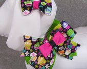 Dog Neck Fashion, Coordinating Bow, Bold Cupcakes